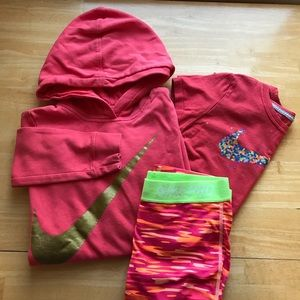 Nike girls L/XL bundle leggings, hoodie, & shirt